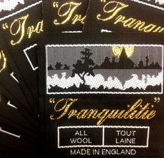 """Tranquilitie"" woven label - 100% Wool Luxury Blankets - www.tranquilitie.com - luxury interior style - 1930s Art Deco"