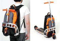 A mochila que se transforma em patinete