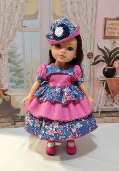 "Hearts 4 Hearts ""Bubblegum and Blueberries"" ensemble with hat, dress, can-can slip,  The dress and hat also fit LIttle Darling dolls"