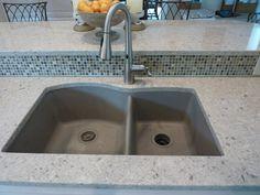 Blanco Silgranit II Truffle undermount sink, Cambria Darlington quartz counters, Moen Arbor faucet, Bliss stone/glass mosaic tiles