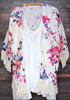 Multicolor Floral Print Tassel Fashion Kimono