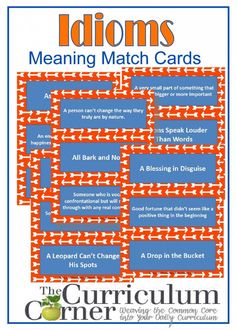 Grade Idioms Meaning Matching Cards- great activity for students who need to have their hands busy or be moving! & – Recognize and explain the meaning of common idioms, adages and proverbs. Reading Strategies, Reading Skills, Teaching Reading, Reading Comprehension, Teaching Ideas, Learning, Kindergarten Writing, Reading Workshop, Writer Workshop