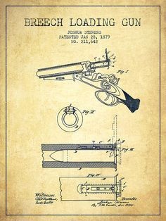 Breech Loading Shotgun Patent Drawing From 1879 - Vintage by Aged Pixel