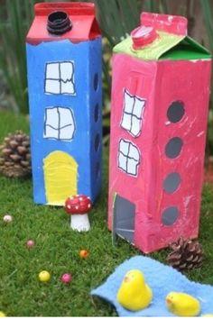 Houses with milk carton