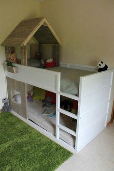Lit cabane KURA simple à réaliser Plus Ikea Kids Bed, Ikea Bunk Bed, Kids Bunk Beds, Cama Ikea Kura, Ikea Kura Hack, Girl Room, Kids Bedroom, Home, Baby