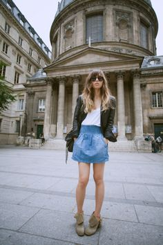 fall transitional. leather bomber with a chambray skirt & ankle boots.