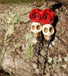 SALE Day of the Dead Earrings Diva Rhinestones 4 by shabbyskull, $19.00