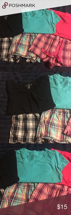 3 pair of pajama tops and shorts 3 pair of pajama shorts size small and 3 matching shirts size medium. All of the shorts are in great condition. The black shirt has a small hole in the front around the belly button. The blue shirt has a tiny stain around the breast. It's about the size of a pen mark. The pink shirt is like new. Sold all together Faded Glory Intimates & Sleepwear Pajamas