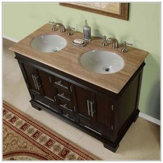 Bathroom Vanities Double Sink 48 Inches Small Double Sink Vanity, Tiny Bathrooms, Bathroom Vanities, Bathroom Ideas, Tiny House Movement, Cool House Designs, Home Renovation, New Homes, Design Ideas