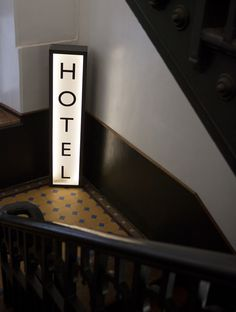 Abode Bombay - Boutique Hotel - Mumbai India - by Sian Pascale of Young Citizens - vintage tile staircase Hotel light box signage Hotel Signage, Hotel Branding, Wayfinding Signage, Signage Design, Banner Design, Ace Hotel, Mid Century Modern Lighting, Environmental Design, Mid Century House