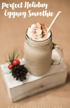 Perfect Holiday Eggnog Smoothie made with Chobani Greek Yogurt. Take the classic flavors of eggnog and turn it into a smoothie. Perfect for an after-dinner treat at your next holiday party or at a festive holiday brunch!  Via @betsy_fick