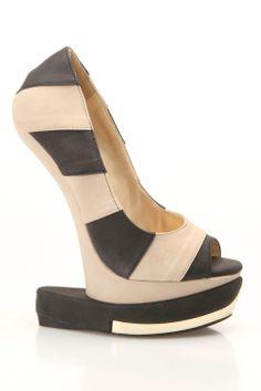 Shoe Republic Grain Stripe Curved Wedges in Black - Beyond the Rack