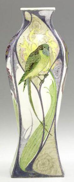 pottery  porcelain, Holland, A Samuel Schellink, Rozenburg porcelain eggshell vase, [bird on branch and reverse with purple iris], 1902. Si...