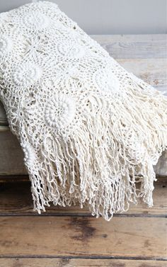 Vintage Crochet Bedspread / Coverlet Throw Bohemian by ethanollie, $150.00
