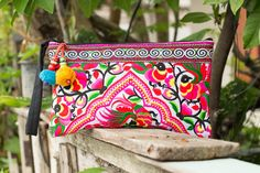 Village Of Peacocks Hmong Clutch Bag Hill Tribe Handmade Thailand Fair Trade (HM-4-WP)