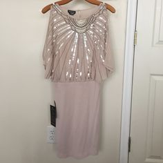 Bebe NWT small dress This is pink with silver details! NWT,,, size small bebe Dresses