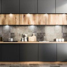 Spotlights instead of linear LEDs Industrial Kitchen Design, Kitchen Room Design, Kitchen Cabinet Design, Modern Kitchen Design, Interior Design Living Room, Kitchen Decor, Modern Kitchen Cabinets, Modern Kitchen Interiors, Cuisines Design