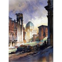 thomas w. schaller - watercolor artist  Roman Light - watercolor - 30x22 inches