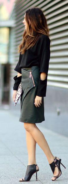 #fall #fashion / leather wrap skirt