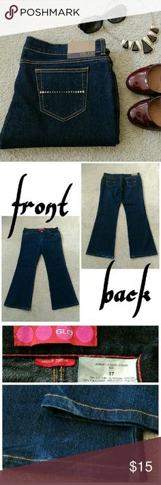 GLO Flare Jeans Used - great condition. Cute and flattering flare jeans. Dark wash. Minor discoloration on back heel areas (see pics for details).  Measurements laying flat. Waist: 19 inches Rise: 10 inches Inseam: 32 inches Flare: 11 inches  PRICE IS FIRM. Bundle and save! Sorry, no trades. GLO  Jeans Flare & Wide Leg
