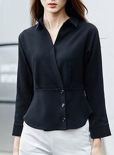Fashion Turn Down Collar Slim Blouse