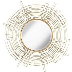 """Uttermost Vector Antiqued Gold 50"""" Round Openwork Wall Mirror ($367) ❤ liked on Polyvore featuring home, home decor, mirrors, furniture, mirror, iron mirror, uttermost mirrors, beveled mirror, antique gold mirror and uttermost home decor"""