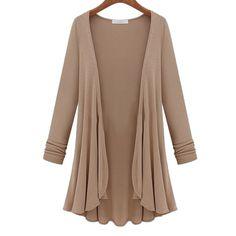 2015 outono inverno nova moda casual solta manga comprida Flounce Hem Mulheres malhas longo Casaco Poncho Cardigan feminina blusa blusa ...