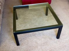 "$125  Dark charcoal 36"" square glass top Parsons coffee table. 16"" high with polished rim glass. Originally $400 at Crate and Barrel. Perfect for a modern interior."