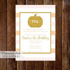 Orange and Blush Pink Stripe Gold Pumpkin First Birthday Party Invitation, Gold Glitter Pumpkin, Little Pumpkin, 1st Birthday Invitation by MommiesInk on Etsy https://www.etsy.com/listing/246391974/orange-and-blush-pink-stripe-gold