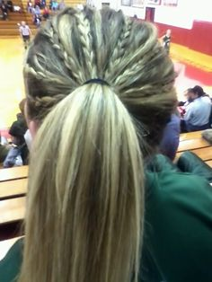 Hair before basketball game volleyball hairstyles, sport hairstyles, athletic hairstyles, ponytail hairstyles, Sporty Hairstyles, Weave Hairstyles, Girl Hairstyles, Running Hairstyles, Athletic Hairstyles, Ponytail Hairstyles, Updos, Game Day Hair, Sport Basketball