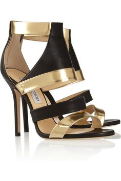 Jimmy Choo Besso textured and mirrored-leather sandals.
