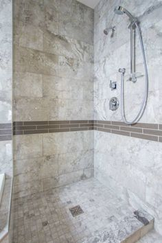Custom tile shower with accent band