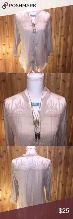 Lowest Price 🆑 NWOT TANTRUMS Blouse TANTRUMS Blouse...Accented with Embroidered Stiching....which wraps around the front neck line, shoulders and top of your back!!! Body: 63% rayon 37% polyester and the Mesh: is 100% nylon Embroidery: 100% cotton. Size medium 🌸 Beautiful casual wear blouse!!! Excellent condition!!! NWOT roll tab sleeves 🌸 TANTRUMS Tops Button Down Shirts