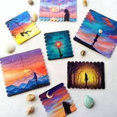 A little collection of popsicle paintings Double tap your favorite & tell me which one is your favorite ? Small Canvas Paintings, Easy Canvas Painting, Mini Canvas Art, Indian Art Paintings, Unique Drawings, Art Drawings For Kids, Pencil Art Drawings, Rock Crafts, Craft Stick Crafts