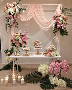 ▷ 1001 + ideas Wedding decoration ideas for your big day arch with blush tulle and pink white and orange rose flower arrangements, dessert on the table, candles in vases, rustic wedding centrepieces Party Table Centerpieces, Bridal Shower Centerpieces, Rustic Wedding Centerpieces, Wedding Table, Diy Wedding, Wedding Ceremony, Indoor Ceremony, Wedding Vintage, Centerpiece Ideas