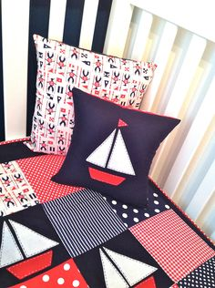 Sailing Boat Crib Set , Baby boy quilt and two matching cushion covers.Ready to ship - Made by my fabulously talented friend at 'alphabet monkey' Sailboat Baby Quilt, Nautical Quilt, Nautical Nursery, Nautical Baby, Baby Boy Nursery Themes, Baby Quilt Patterns, Baby Boy Quilts, Quilted Pillow, Baby Sewing