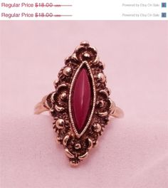 ON SALE Sarah Coventry Ring Red Stone Vintage by 4dollsintime, $12.60