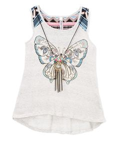 Loving this Gray Butterfly Hi-Low Tank & Necklace on #zulily! #zulilyfinds