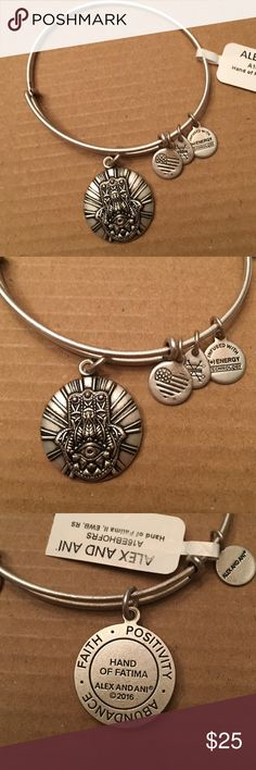 ✨NWT Alex and Ani hand of Fatima bangle✨ Brand new with tags...Rafaelian silver bangle. Comes with meaning card. From a smoke and pet free home. ❌no trades❌ Alex & Ani Jewelry Bracelets