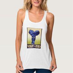 Visit the Zoo Vintage WPA FAP Poster Elephant Flowy Racerback Tank Top Tank Tops