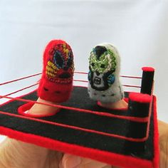Mexican Thumb Wrestler Puppets and Arena Wrestling Birthday Parties, Boy Birthday, Thumb Wars, Embroidery Thread, Puppets, Geek Stuff, Mexican, Felt, Bon Fire
