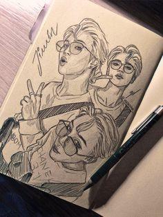 Kpop Drawings, Art Drawings Sketches Simple, Pencil Art Drawings, Jimin Fanart, Kpop Fanart, Arte Sketchbook, Bts Pictures, Bts Wallpaper, Cartoon Art