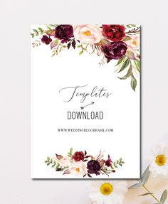 Download Gratuito: 6 Planos de fundo para convite - Wedding blog Brasil Simple Birthday Decorations, Muslimah Wedding, Floral Wedding Invitations, Wedding Blog, Daisy, Beautiful Pictures, Marriage, Place Card Holders, Download