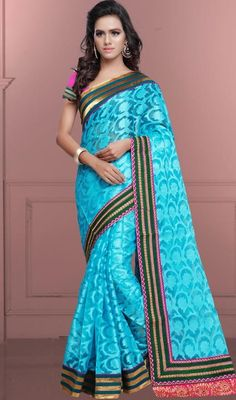 Be your own style diva with this sky blue color embroidered cotton and brasso sari. The brilliant attire creates a dramatic canvas with amazing lace and resham work. #stunninglooksaris #turquisebluecolorsari #beautifulbordersaree