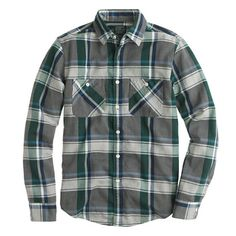 J.Crew - Flannel shirt in overcast blue herringbone plaid