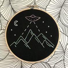 Cute Alien Spaceship Mountain Embroidery Hoop Art