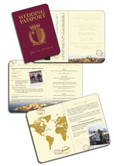 Multiple Page Passport Invitations created for wedding in Malta - Click for details and to see other examples of destination stationery