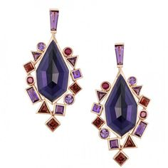 """Gold Struck"" Crystal Haze Drop Earrings set in 18k rose gold with amethyst, ruby and rhodolite garnet by Stephen Webster"