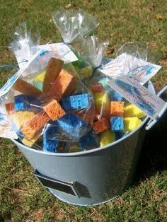 """Sponge Balls: tag says """"Make a SPLASH and have a BALL this summer!"""" Great for end of the year student gifts."""
