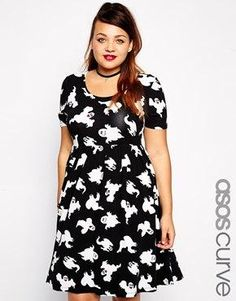 ASOS CURVE Exclusive Skater Dress in Ghost Print